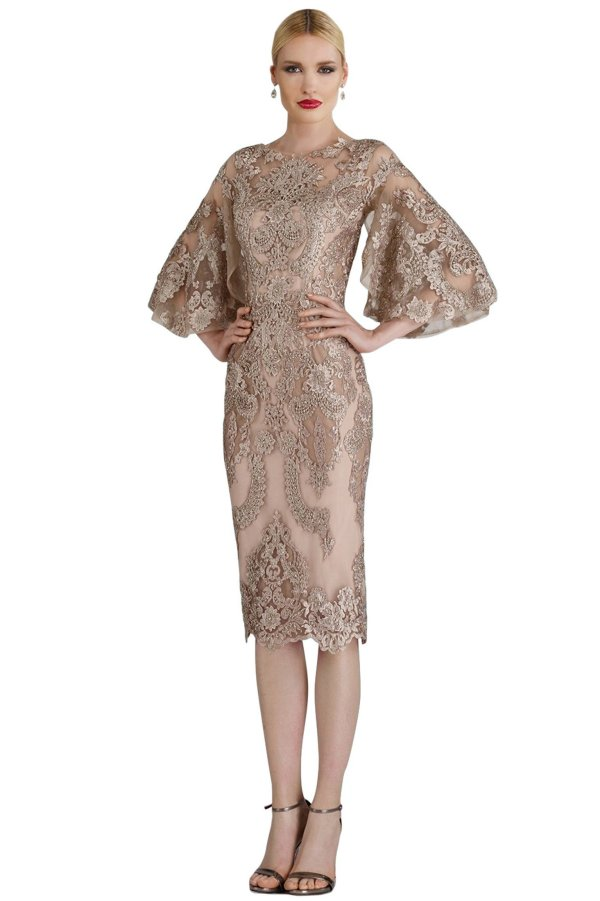 full lace champagne cocktail MOB dress. Lace short dress in champagne with lace applique for mother of the bride.