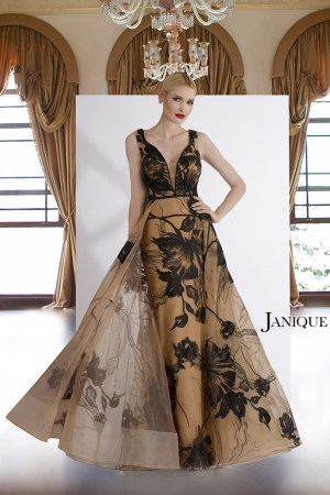 Plunging neckline with shoulder strap floral lace tulle long dress. Pageant gown with lace and overlay skirt in black nude.