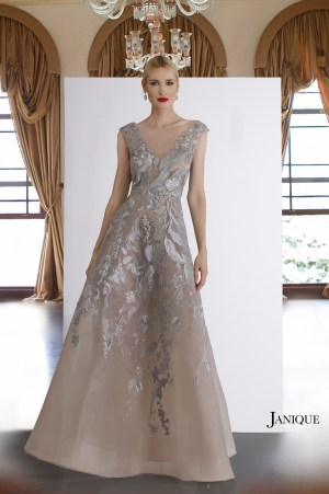 Pageant couture. Silver lace V-neck dress with floral appliques. Beaded gown with lace applique in gray. Designer beaded gray lace long dress.