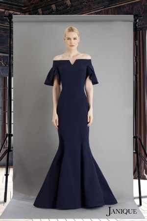 Off the shoulders stretch crepe gown with petal sleeves. Navy long dress with short sleeves by janique. Elegant Couture