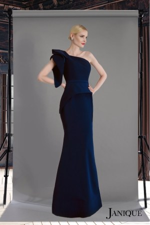 Navy asymmetric cut sleeve evening gown. Long dress in navy by janique with sleeve. Half cut sleeve evening dress in navy. Mother of Bride dress