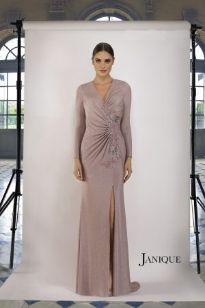 Shimmer Long Sleeve Gown