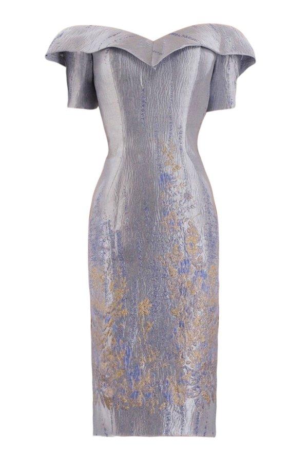 Metallic cocktail dress by janique. Designer short dress in metallic silver. Floral metallic print cocktail dress by janique.