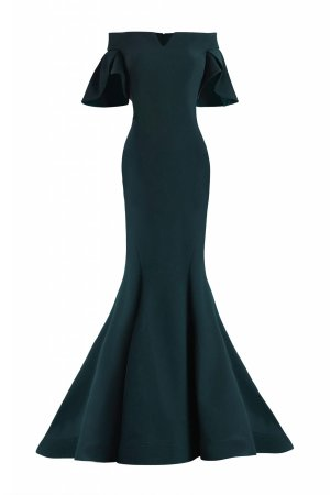 Long evening dress in teal. Petal sleeves stretch crepe gown. Designer long evening gown in teal with sleeves.