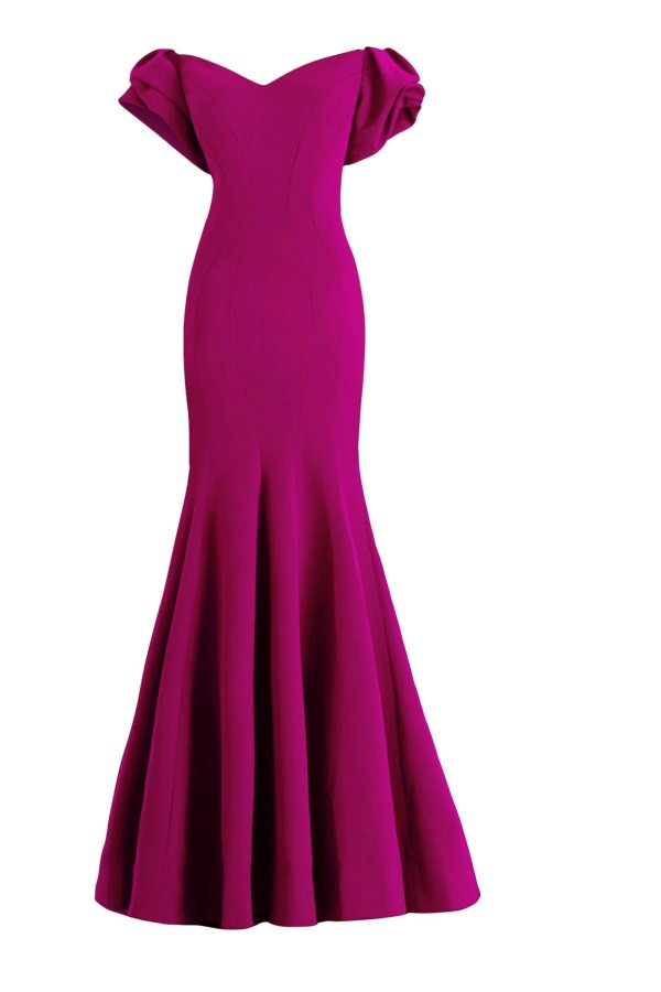 Fuchsia evening gown with ruffled short sleeves. Long stretch crepe dress wit ruffled bottom skirt and short sleeves.