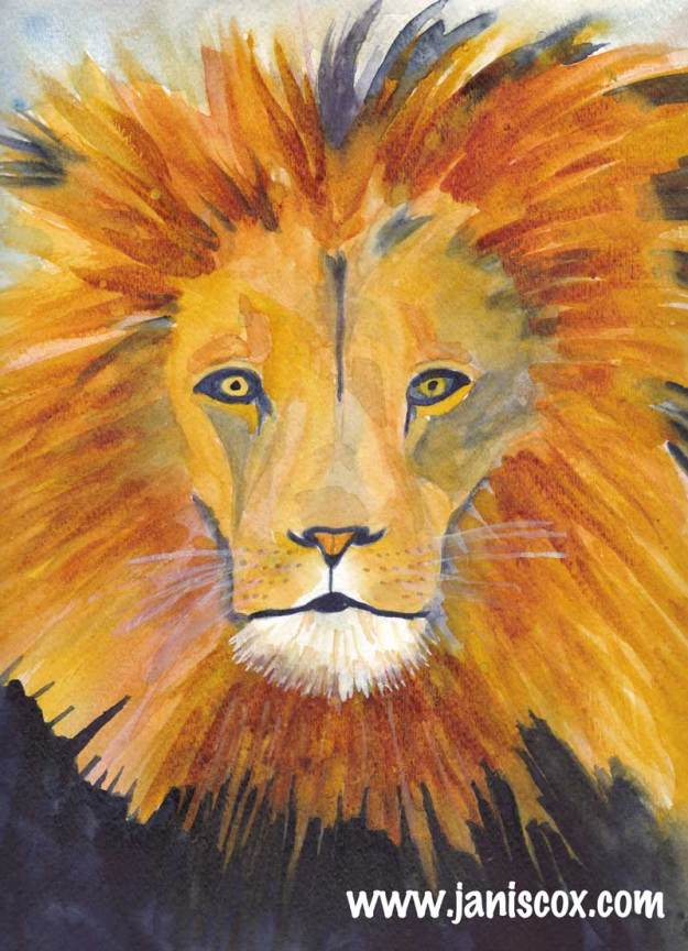 fuzzy watercolour lion