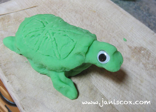 playdough - add shell and googly eyes
