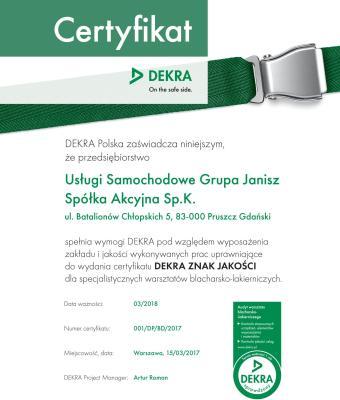 DEKRA certyfikat dla Grupy JANISZ
