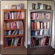 Bookcase with French Linen Annie Sloan chalk paint – before and after