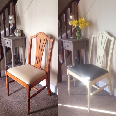 Chalk paint makeover – chair painted in Annie Sloan chalk paint using Cream and Graphite