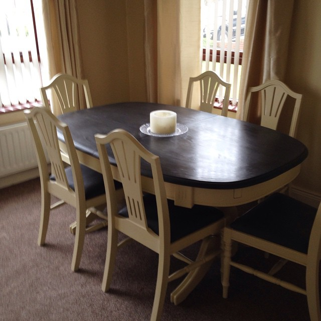 diy dining chairs makeover rocking chair height chalk paint complete - pine table and transformed with annie sloan ...