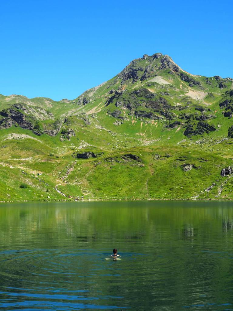 Zwemmen tijdens de huttentocht in het Salzburger Land
