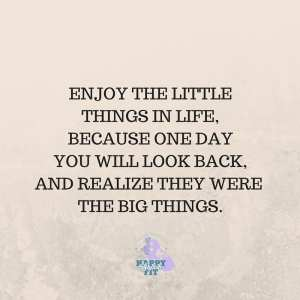 Enjoy the little things in life, because one day you will look back and realize they were the big things.