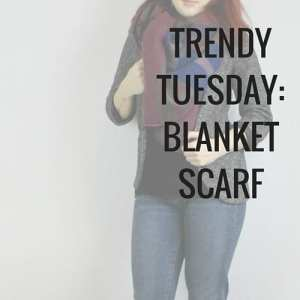 Blanket scarf outfit with denim jeans, black tshirt, grey blazer. Ladies outfit for work in the fall, or spring.