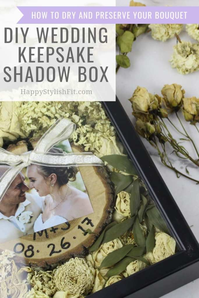 Learn how to dry out your wedding bouquet and create this cute DIY wedding keepsake shadow box. #Wedding #Bouquet #Bride #Newlywed #DIY