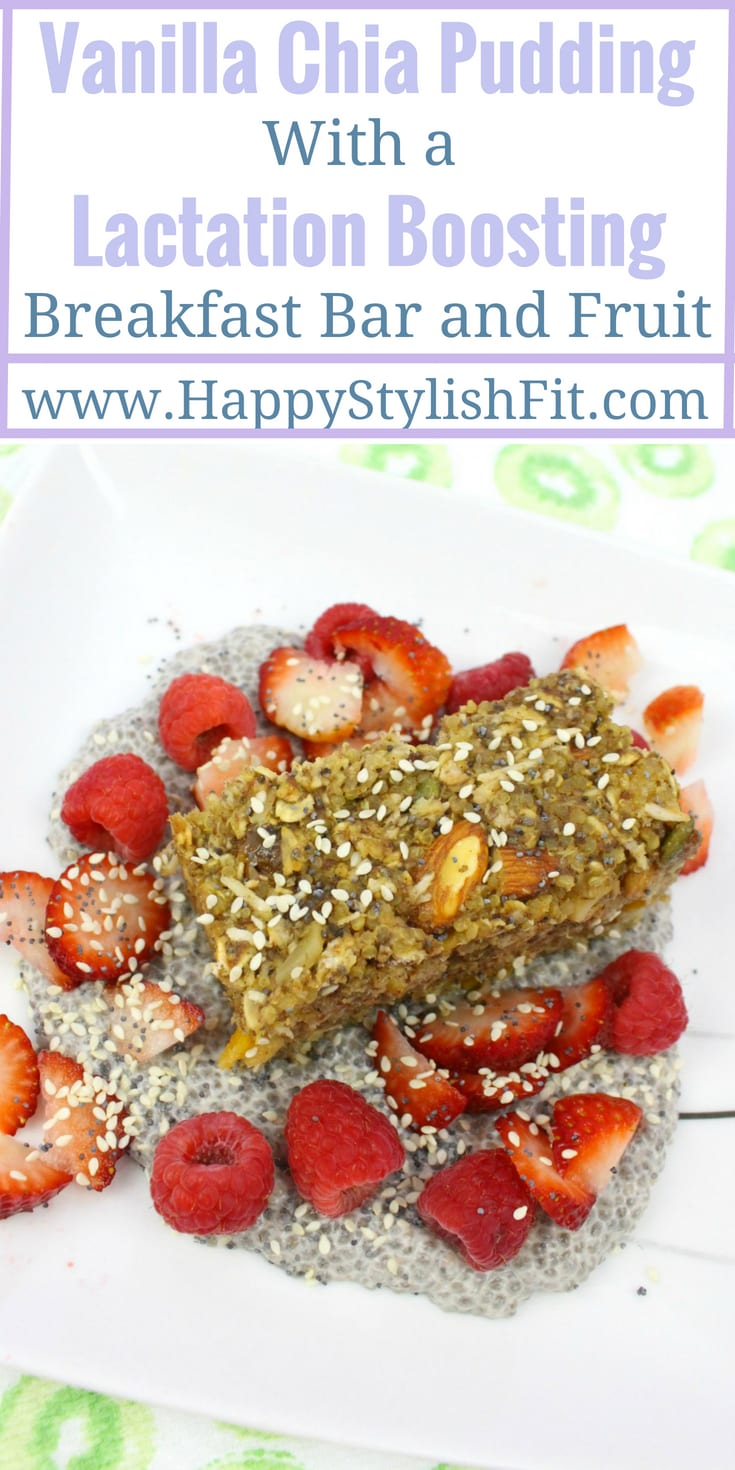 Make ahead chia pudding with lactation boosting breakfast bar recipe that is perfect for breastfeeding moms. Dairy free and vegan recipe.