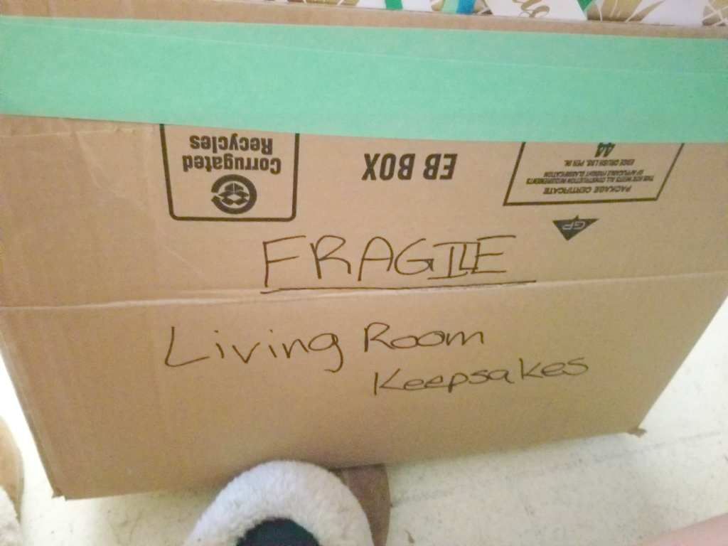Moving Tip - Label boxes on the top and side so that helpers can see what room they go to and so that you can find what is in the box when they are all stacked and you are unpacking.