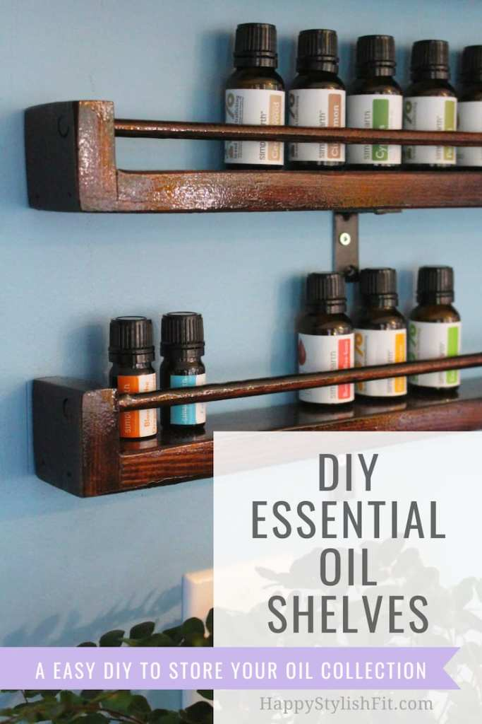 DIY essential oils shelves. An easy DIY you can make at home to store your essential oils. #DIY #EssentialOils #SimplyEarth #NaturalHome