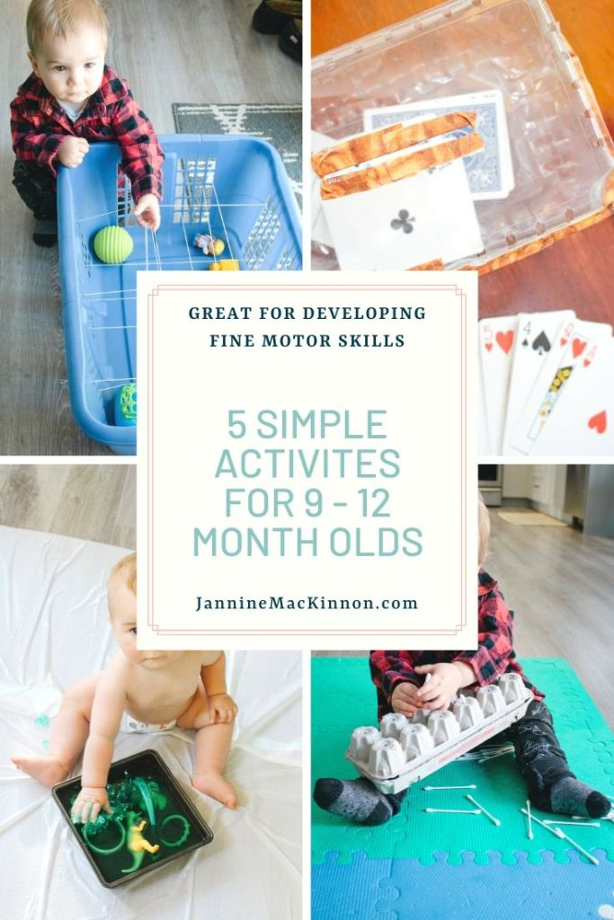 Keep your 9 - 12 month old busy with these 5 simple baby activities to keep them busy and help develop their fine motor skills.