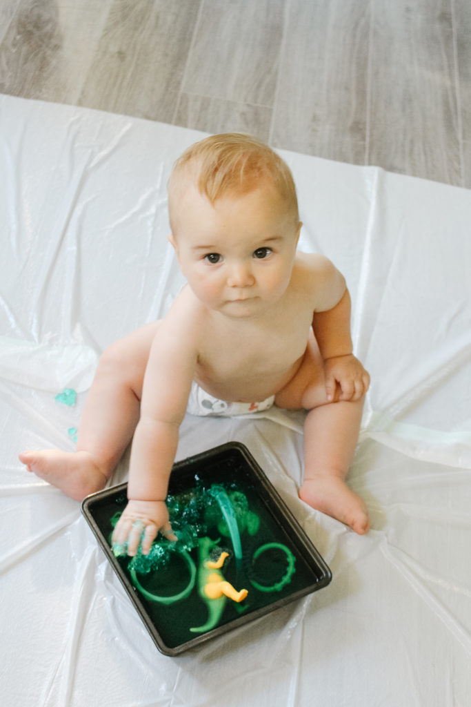 Jello dig is such a fun activity for 9 - 12 month olds.