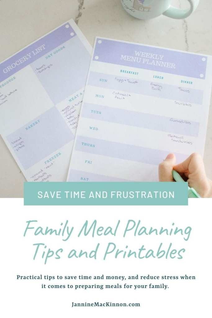 Free Printable Family Meal Planner and Grocery List