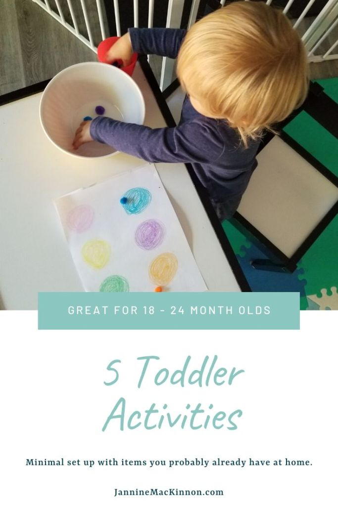 5 Toddler activities using items you probably already have at home. These 18 - 24 month old activities require minimal setup and will help keep your todder entertained.