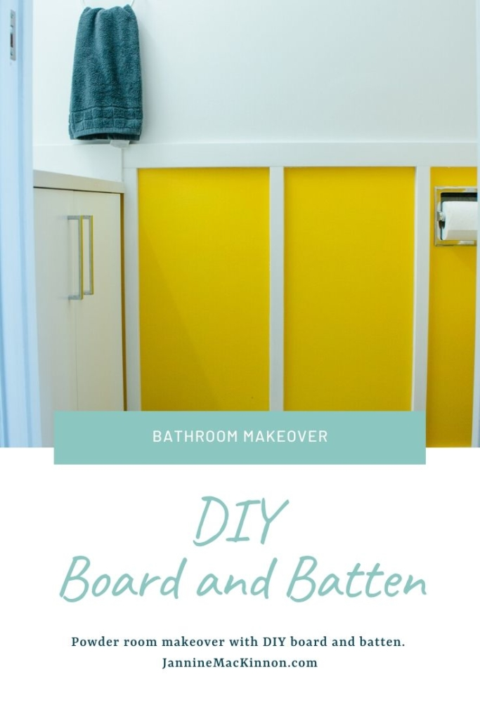 DIY Board and Batten Yellow and White Bathroom Makeover for our small powder room.