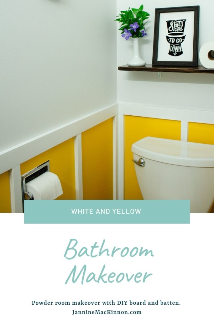 Yellow and White Bathroom Makeover. This fun powder room bathroom makeover incorporates a yellow and board and batten wall.