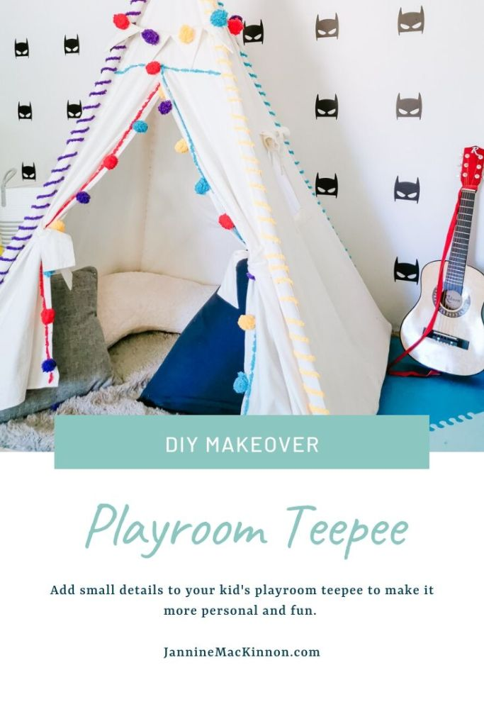 DIY playroom teepee personalisation with DIY pom poms and fun design with yarn.