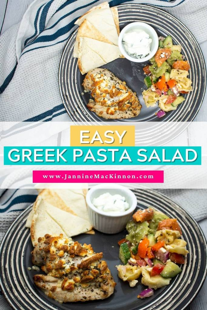 This tasty greek pasta salad is a delicous side to your weeknight dinner that the whole family will love. Learn how to make this easy pasta salad at home. This meal takes 20 minutes or less to cook. | how to make greek pasta salad | how to cook pasta salad | greek meal ideas | easy weeknight dinner|
