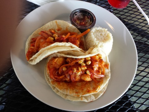 Shrimp tacos with mango salsa. Mmmmm.