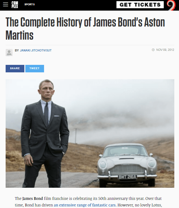 The Complete History of James Bond's Aston Martins