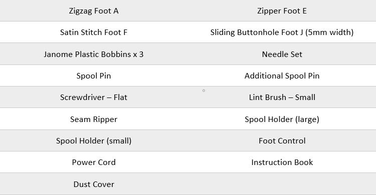 Elna 450 Standard accessories list