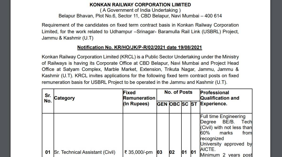 Railway Recruitment 2021: Notification released for Technical Assistant Posts.  Check here for eligibility criteria and other details