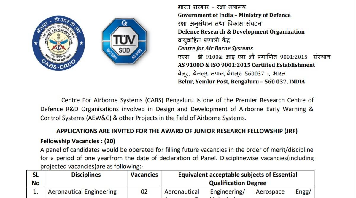 DRDO Notification 2021: Notification released for Junior Research Fellowship at www.drdo.gov.  Check here for latest updates
