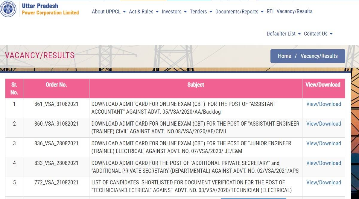 UPPCL Admit Card 2021: Admit Card of CBT Exam for the post of Assistant Accountant and Assistant Engineer released at upenergy.in.  Download with these steps