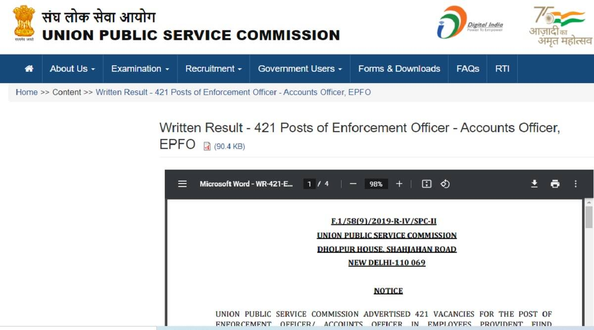 UPSC Result 2021: UPSC EPFO Result 2021 Declared at upsc.gov.in