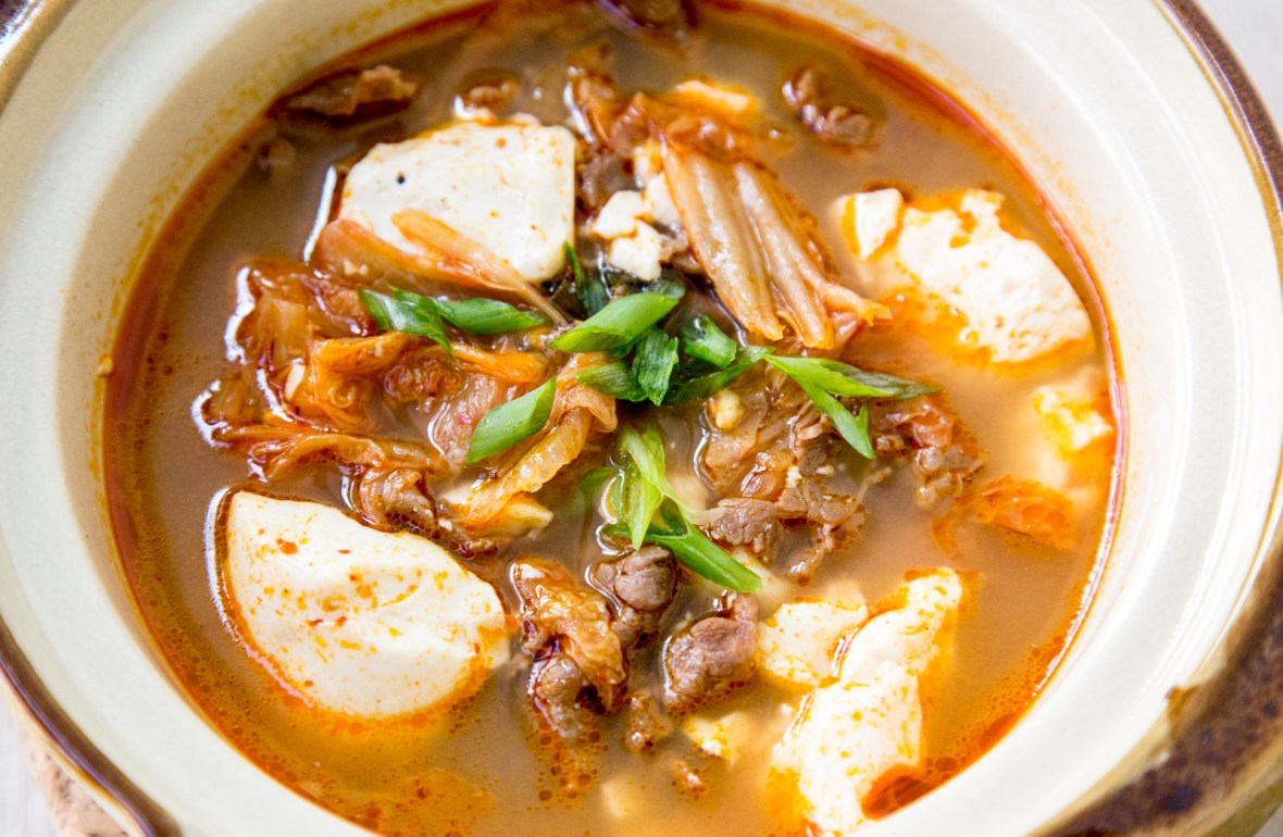 Korean Kimchi Tofu Soup with Beef Recipe