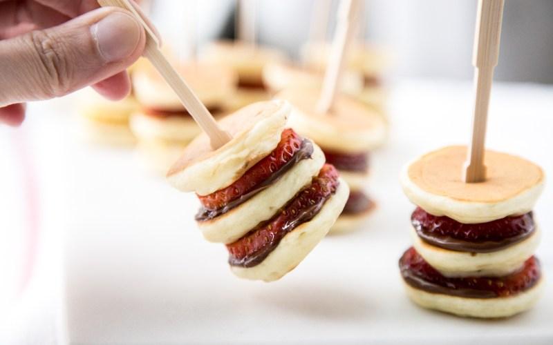 Mini Buttermilk Pancakes with Strawberries & Nutella Recipe