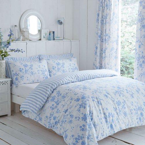 blue  White Floral Etoile Reversible Duvet Cover Set Curtains