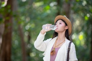 Female Tourists Are Drinking Water