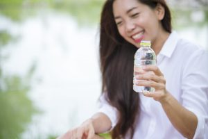 Happiness Beautiful Asian Chinese Women Holding Mineral Water Bottle Happy Smiling