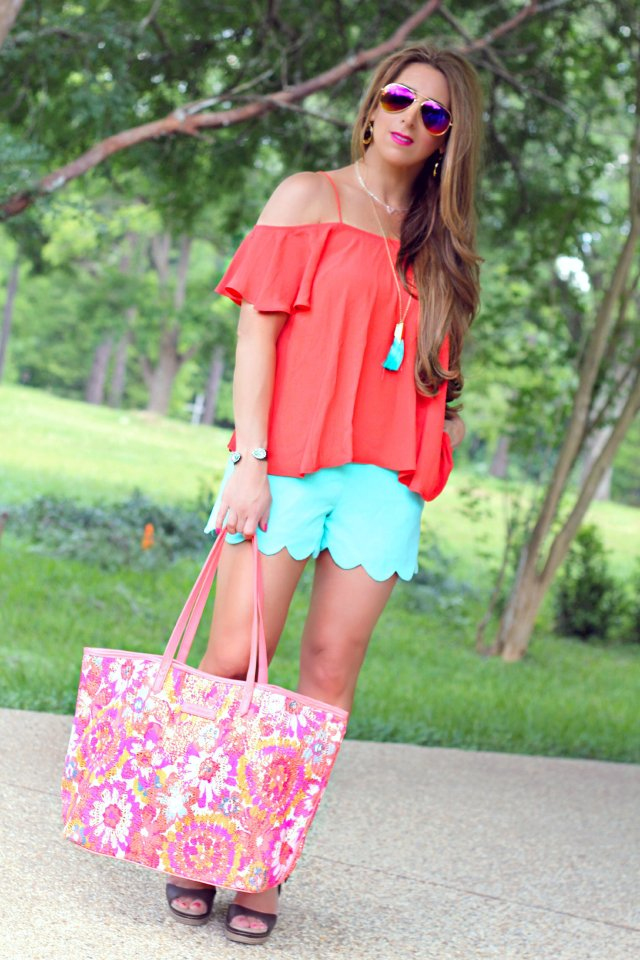 mint scallop shorts