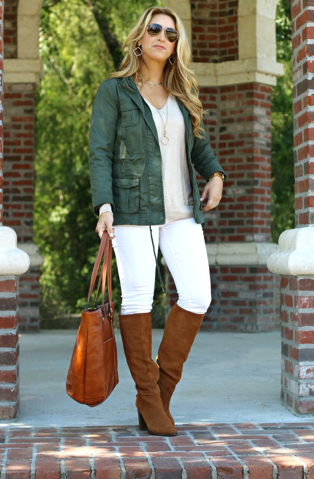 white denim with boots