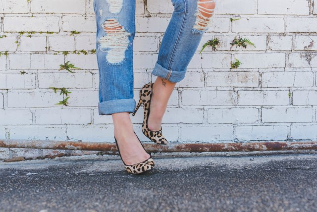 Leopard Pumps + Distressed Denim
