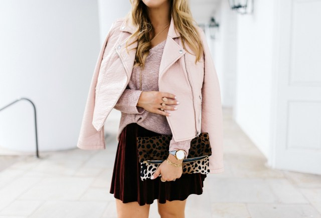 Blush faux leather moto jacket