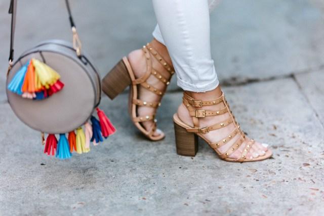 studded sandals heels