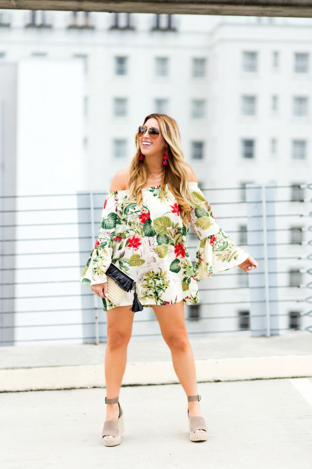 off the shoulder tropical dress