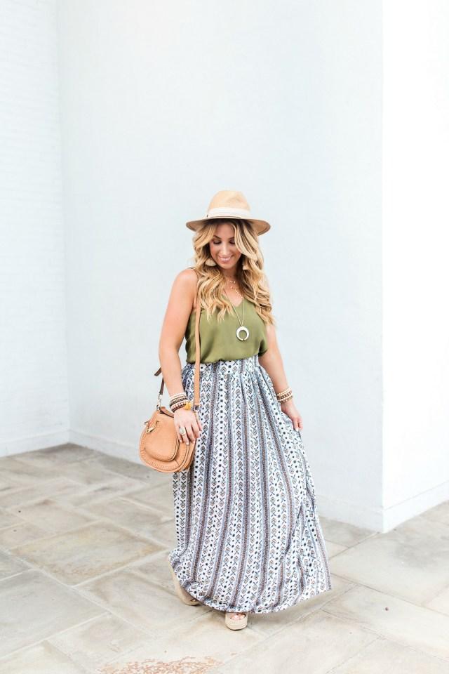 Boho maxi skirt outfit