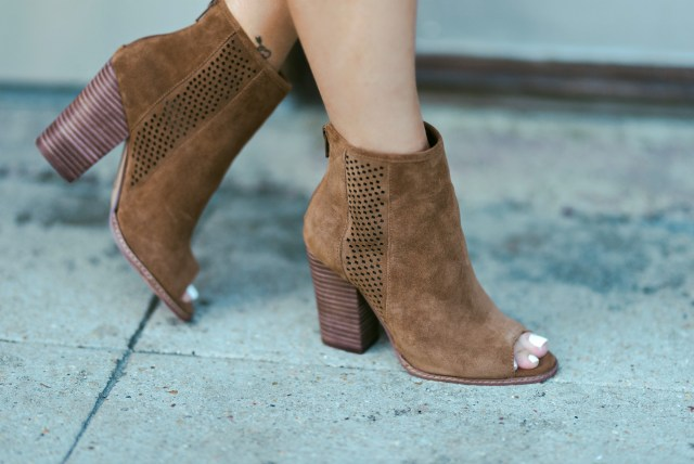 cognac peep toe booties